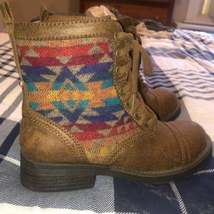 Shoes - Tan booties with Aztec accent